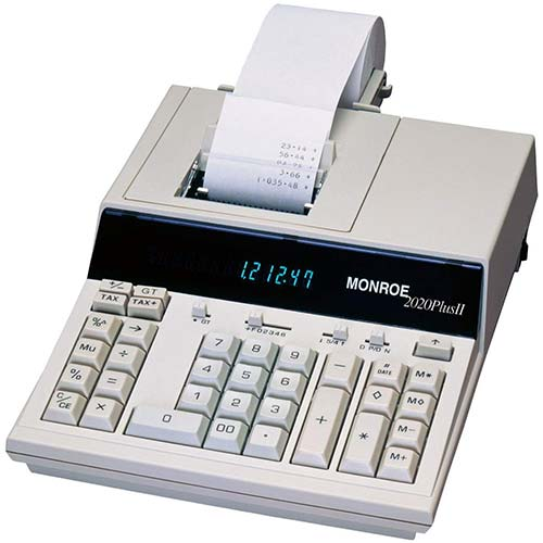 10. Monroe MR2020PLUSII 12 Digit Print/Display Calculator