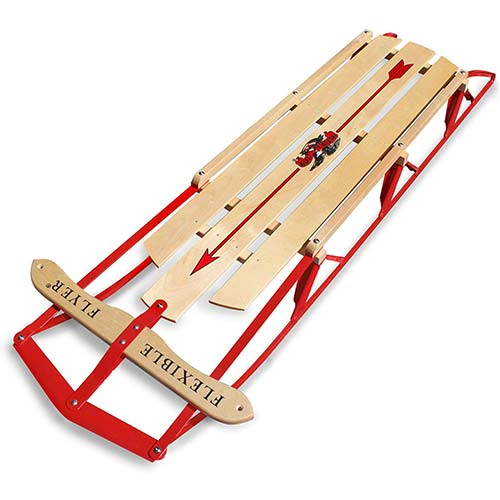 1. Flexible Flyer Metal Runner Sled. Steel & Wood Steering Snow Slider