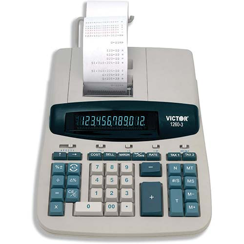 7. Victor 1260-3 12 Digit Heavy Duty Commercial Printing Calculator