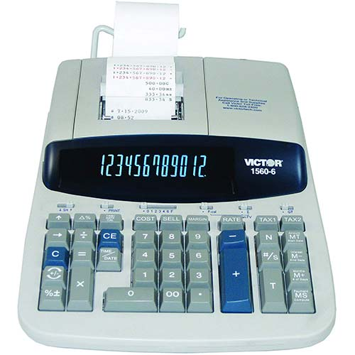 9. Victor 1560-6 12 Digit Heavy Duty Commercial Printing Calculator with Large Display and Loan Wizard