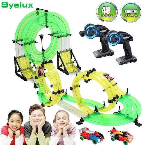 10. Syslux RC Car with Track, Racing Track Car, 860cm Car Race Track Set Speeding Racing Car with 3D Track, 2 Cars, 2 Hand-Operated Controllers, Assembly for Children Educational Toy Birthday