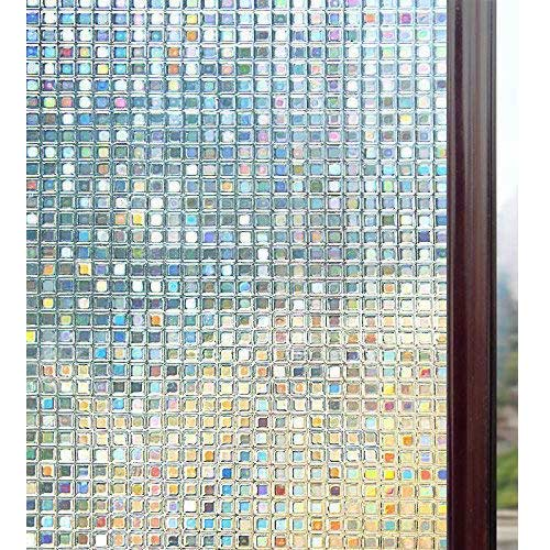 3. Rabbitgoo 3D Decorative Window Film, Non-Adhesive Privacy Films