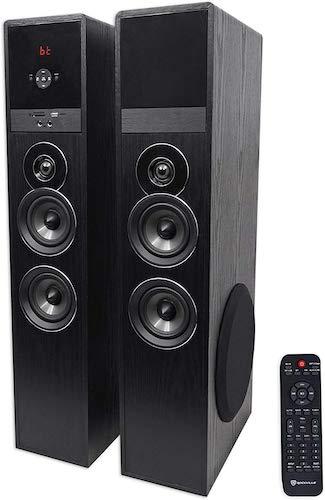 9. Rockville TM150B Black Home Theater System Tower Speakers 10
