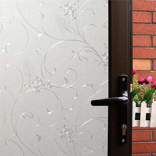 5. Mikomer Privacy Window Film Wheat Flower Static Cling Glass Door Film
