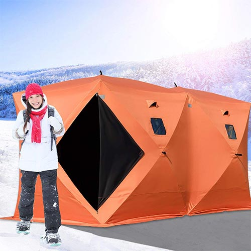 6. Happybuy Ice Fishing Shelter 2 3 4 8 Person Pop-up Ice Fishing Shelter Waterproof Portable Ice Tent