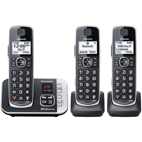 10. Panasonic KX-TGE633M DECT 6.0 Digital Technology Expandable 3 Handset Cordless Phone