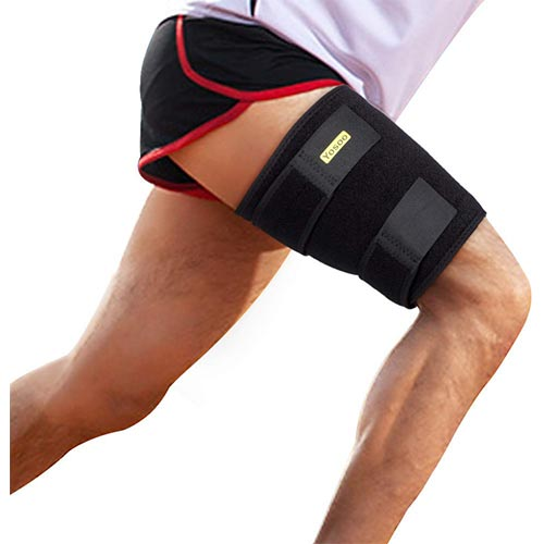6. Thigh Support, Thigh Brace Hamstring Wrap Adjustable Compression Sleeve
