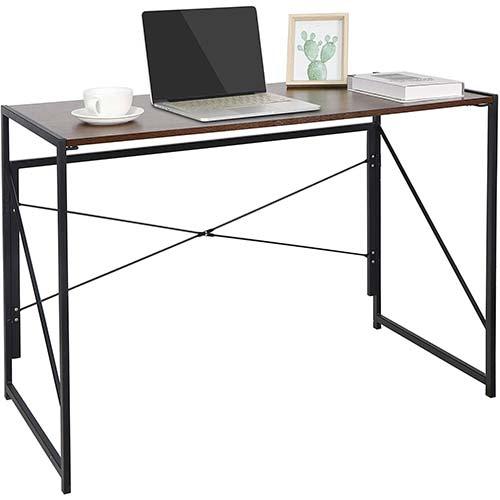 8. SUPER DEAL Folding Computer Writing Desk Wood and Metal Study Desk