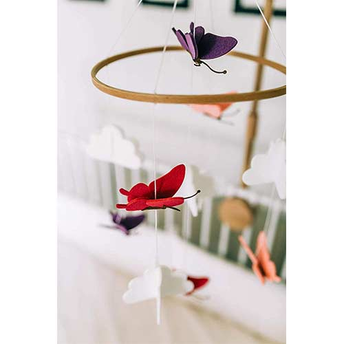 9. Sorrel and Fern Baby Crib Mobile Butterflies in The Clouds Nursery Decoration for Girls