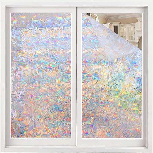 10. Volcanics Window Privacy Film Static Window Clings Vinyl 3D Window Decals Window Stickers Rainbow Window Film