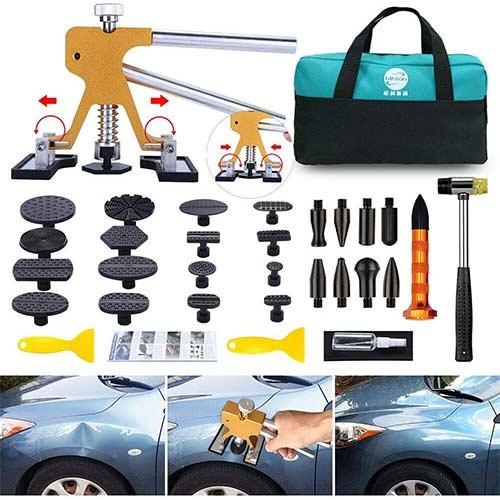 5. GLISTON Paintless Dent Puller – Golden Dent Puller Kit, 35pcs Dent Remover Tools