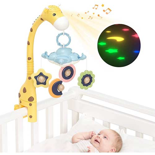 10. TUMAMA Giraffe Crib Mobile with Projection Lights and Music