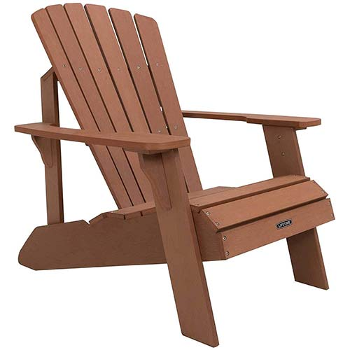 6. Lifetime Faux Wood Adirondack Chair, Brown – 60064