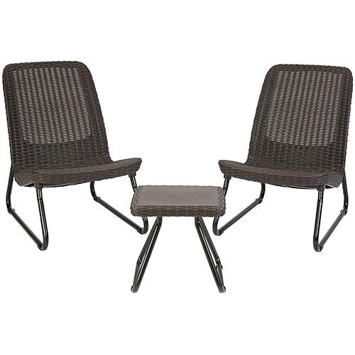 3. Keter Rio 3 Piece Resin Wicker Furniture Set with Patio Table and Outdoor Chairs