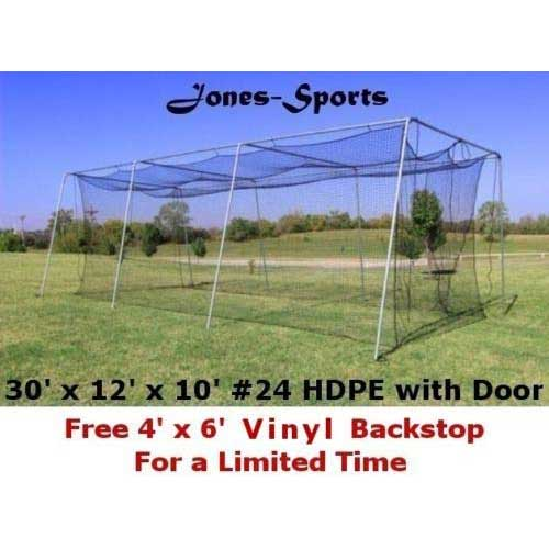 5. Jones Sports Batting Cage Net 10' H x 12' W x 30' L #24 HDPE 42ply