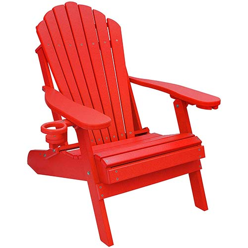 8. Outer Banks Deluxe Oversized Poly Lumber Folding Adirondack Chair