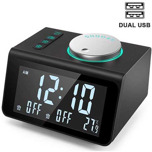 4. ANJANK Small Alarm Clock Radio