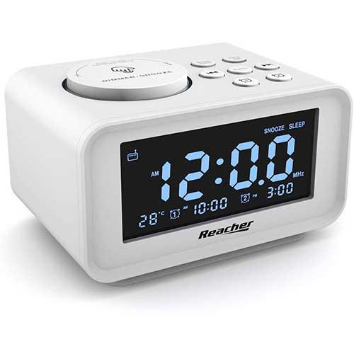 6. REACHER Dual Alarm Clocks Radio