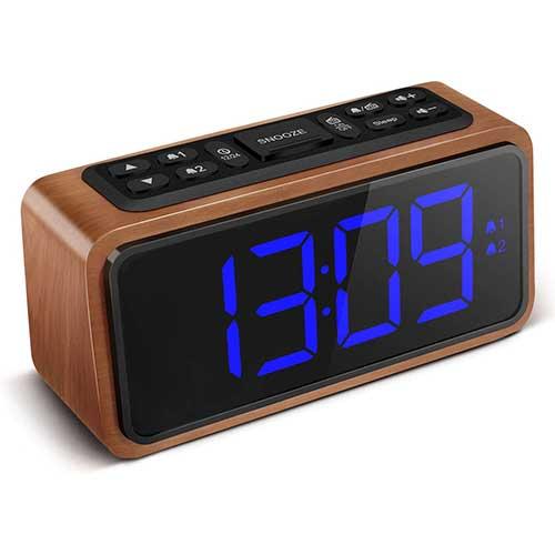 10. FM Radio Alarm Clock, Koosin Large LED Display Wood Digital Alarm Clock
