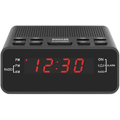 7. Digital Alarm Clock Radio, Small Alarm Clocks for Bedrooms