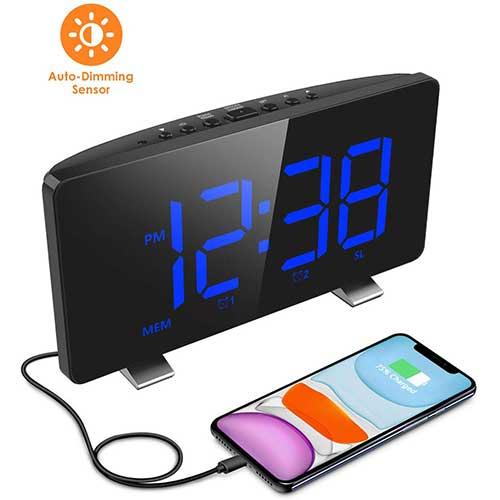 8. Digital Alarm Clock, ELEGIANT Alarm Clocks for Bedrooms