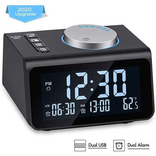 9. Small Digital Alarm Clock Radio - Dual Alarm, 7 Wake-up Sounds, Display Dimmer