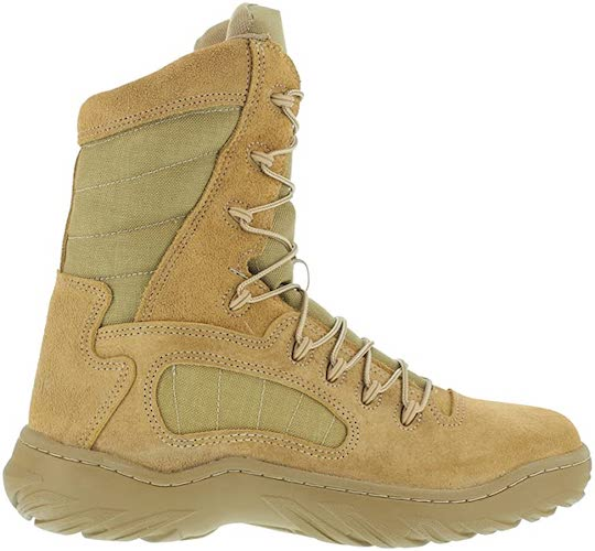 7. Reebok Womens Desert Tan Leather Tactical Boots Fusion Max 8in Military