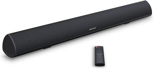 1. Soundbar, BESTISAN TV Sound Bar with Dual Bass Ports Wired and Wireless Bluetooth 5.0 Home Theater System by MEGACRA