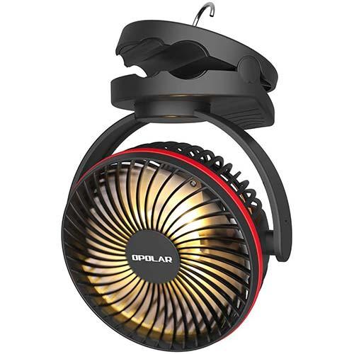 5. OPOLAR 5000mAh Camping Lantern Clip on Fan