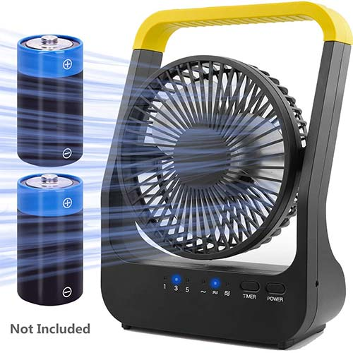2. Battery Operated Fan, Super Long Lasting Battery Operated Fans for Camping, Portable D-Cell Battery Powered Desk Fan