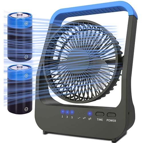 6. Battery Operated Fan, Camping Fan Battery Powered, Super Long Lasting, Portable D-Cell Battery Powered Desk Fan