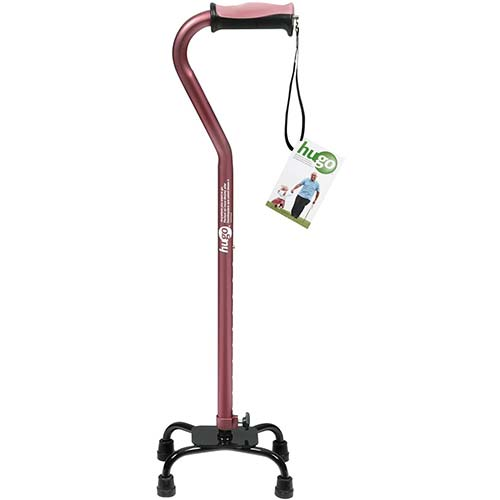 5. Hugo Adjustable Quad Cane for Right or Left Hand Use, Rose, Small Base