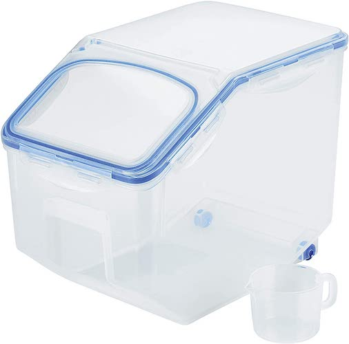 7. Lock & Lock HPL510 Easy Essentials Pantry Food Storage Container With Wheels/Food Storage Bin With Wheels - 50.7 Cup, Clear
