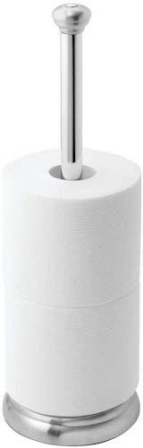 5. iDesign York Metal Toilet Tissue Roll Reserve for Bathroom, Compact Organizer Caddy Holds 3 Rolls of Paper