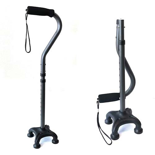 7. Ez2care Adjustable Lightweight Folding Quad Cane, Metallic Black