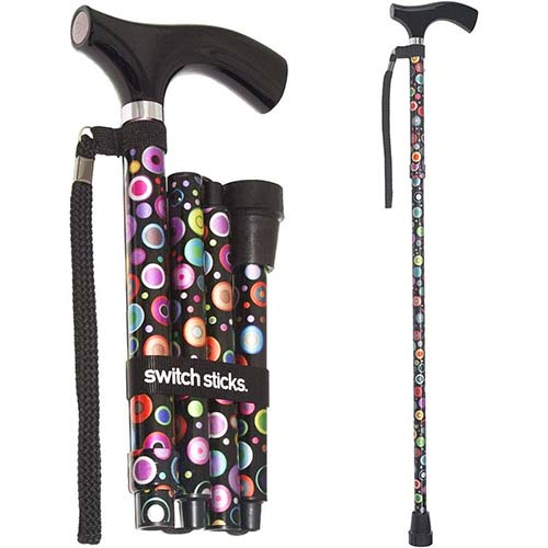 10. Switch Sticks Adjustable Folding Walking Cane and Walking Stick Collapses and Adjusts from 32 to 37 inches, Bubbles