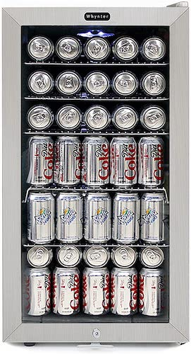 5. Whynter BR-128WS Lock, 120 Can Capacity, Stainless Steel Beverage Refrigerator