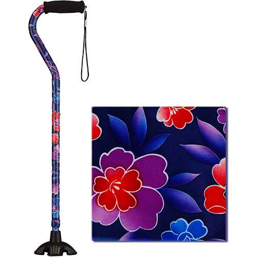6. NOVA Medical Sugarcane, Walking Stick with Rubber Quad Tip Base and Carrying Strap, Maui Flowers