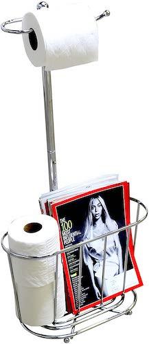 8. DecoBros Toilet Tissue Paper Roll Holder Stand Plus, Chrome
