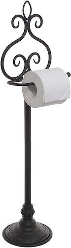 7. MyGift Freestanding Black Metal Scrollwork Design Toilet Paper Holder Rack/Hand Towel & Washcloth Bar