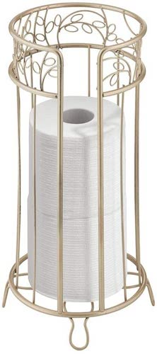 9. mDesign Decorative Free Standing Toilet Paper Holder Stand with Storage for 3 Rolls of Toilet Tissue - Pearl Champagne