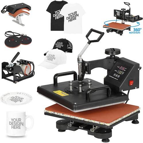 3. F2C 5 in 1 Professional Digital Transfer Sublimation Swing-Away 360-degree Rotation Heat Press Machine