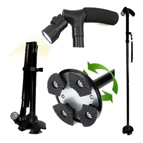 4. Adjustable Folding Canes and Walking Sticks for Men and Women with Led Lights and Cushion Handle