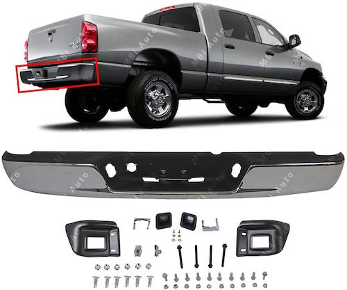 1. MBI AUTO - Chrome Steel, Rear Bumper Assembly for 2002-2008 Dodge RAM 1500 & 2003-2009 Dodge RAM 2500 3500 Pickup, CH1103115