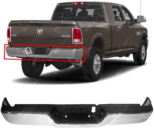 5. MBI AUTO - Chrome, Steel Rear Step Bumper Complete Assembly for 2013-2018 RAM 2500 3500 13-18, CH1103128