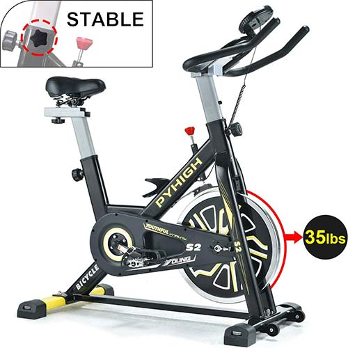1. PYHIGH Indoor Cycling Bike Belt Drive Stationary Bicycle Exercise Bikes with LCD Monitor for Home Cardio Workout Bike Training