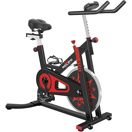 5. RELIFE REBUILD YOUR LIFE Exercise Bike Indoor Cycling Bike Stationary Bicycle with Resistance Workout Home Gym CardioFitness Machine