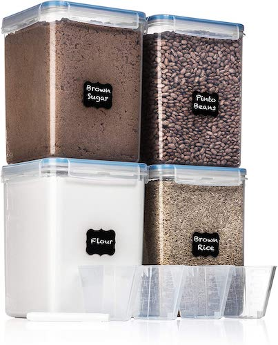 10. EXTRA LARGE WIDE & DEEP Food Storage Airtight Pantry Containers [Set of 4] by White Feather Supplies