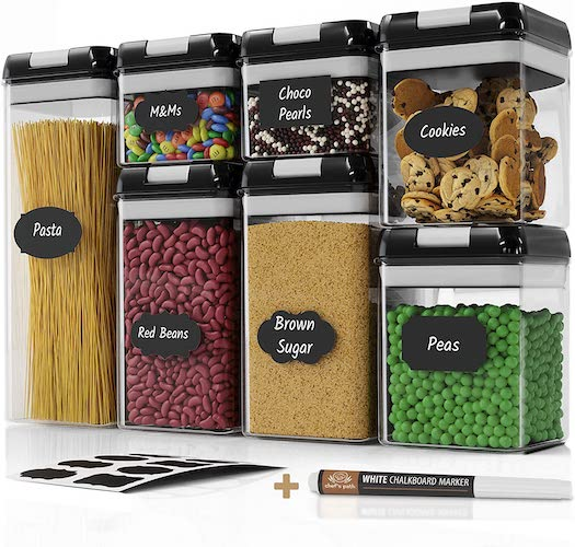 2. Chef's Path Airtight Food Storage Container Set - 7 PC Set - Labels & Marker - Kitchen & Pantry Organization Containers