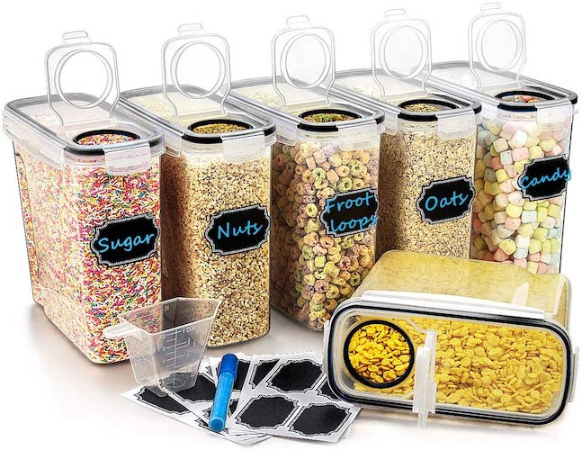 3. Large Cereal & Dry Food Storage Containers, Wildone Airtight Cereal Storage Containers Leak-proof with Black Locking Lids